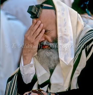 An orthodox Jewish man wearing a prayer shawl and head tefillin reads from the prayer book at the Western Wall in Jerusalem, Israel.